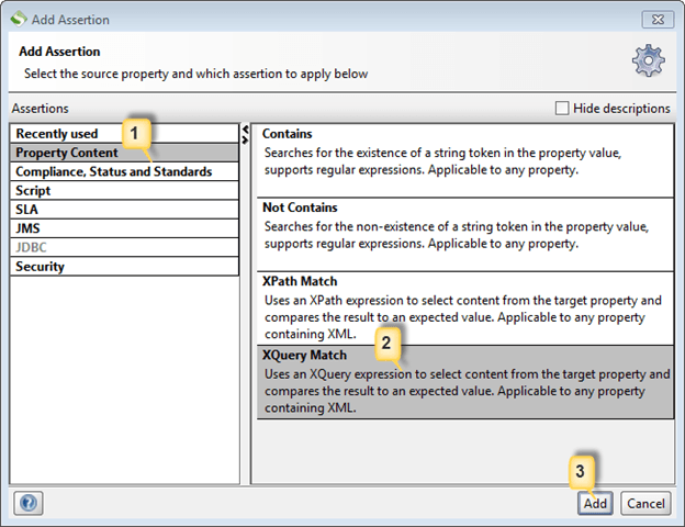 Xquery Match Assertion Example in SoapUI