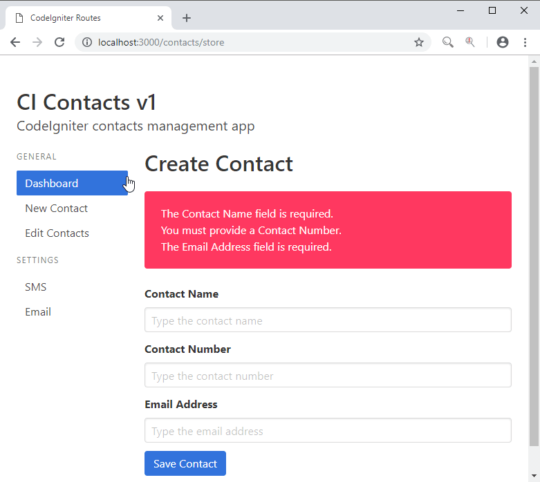 CodeIgniter Form Validation