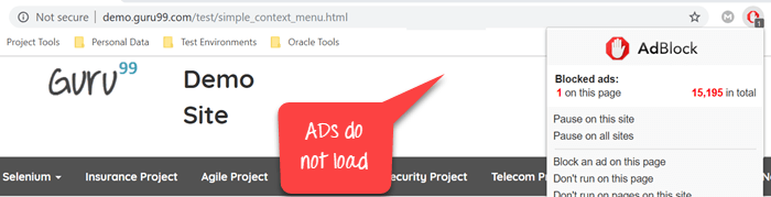 Chrome Options & Desiredcapabilities: AdBlocker, Incognito
