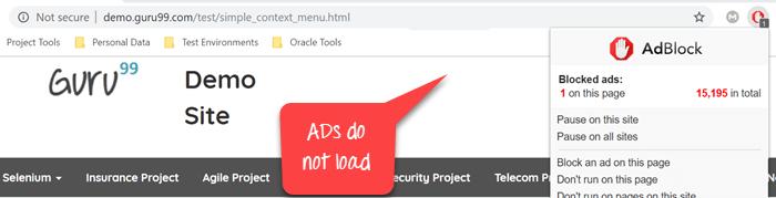 Chrome Options & Desiredcapabilities: AdBlocker, Incognito, Headless