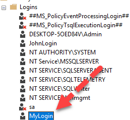 Create New Login in SQL Server