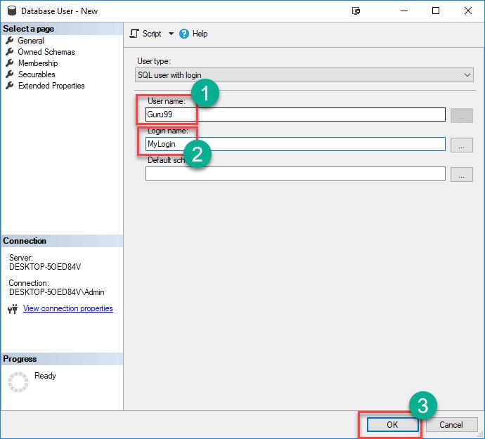 Creating a User in SQL Server Management Studio