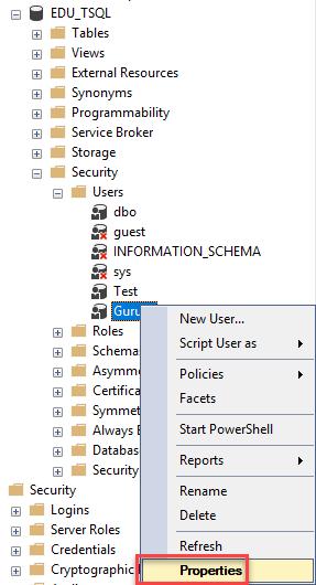 Assigning Permissions in SQL Server Management Studio