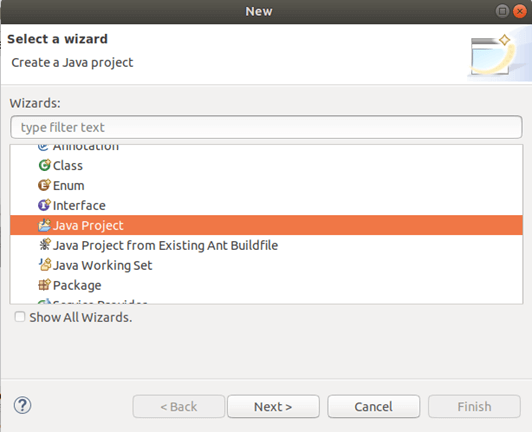 Create a new Java Project.