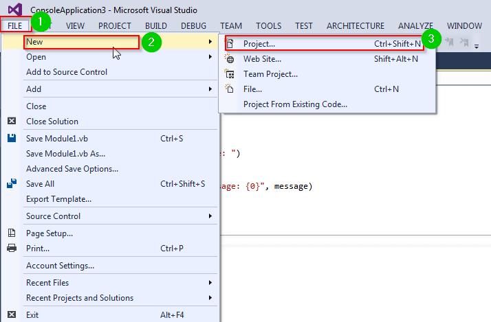VB Net Program Structure, Module, Classes: Hello World Example