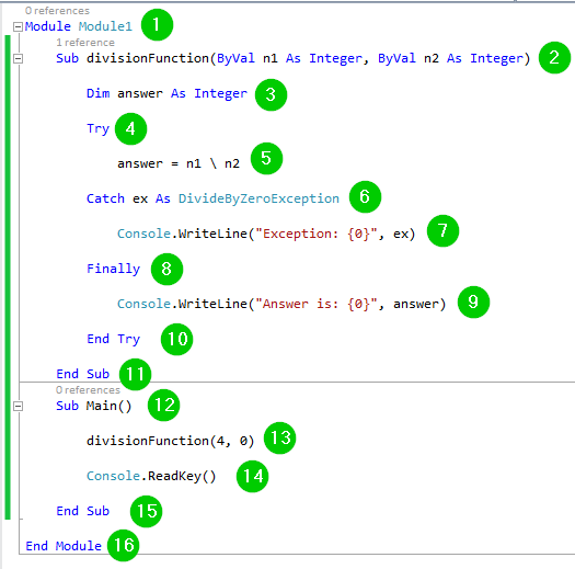 Try   Catch   Finally, Throws, User Defined exception in VB Net