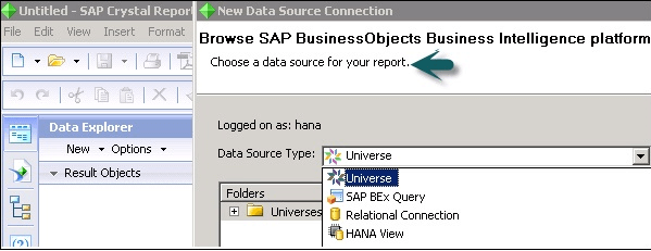 Data Sources in SAP Crystal Reports