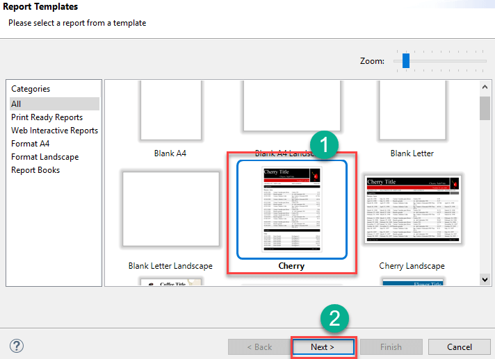 Selecting the desired template