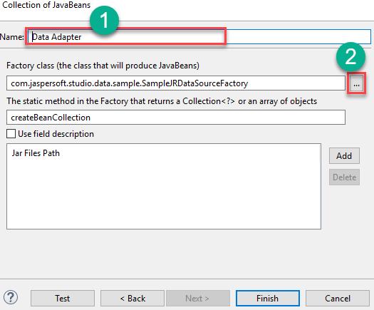 Entering data adapter details