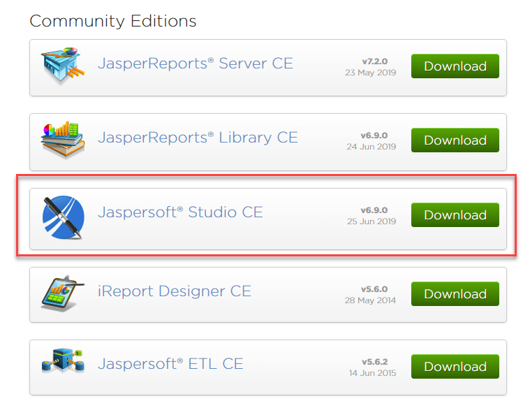 Select Jaspersoft Studio CE