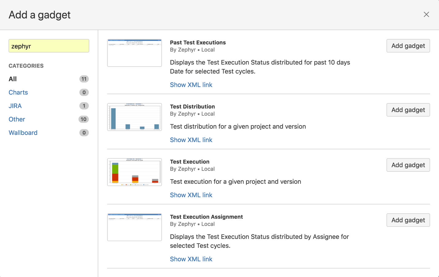 This will add the gadget to your dashboard to help your users track and  view your testing progress across all projects for your testing activities.