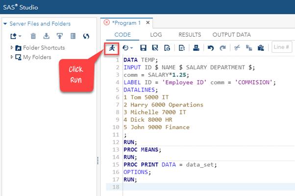 SAS Program Example