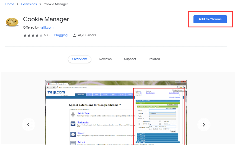 Chrome Cookie Manager plugin