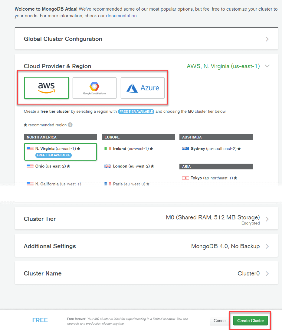 Install MongoDB in Cloud: AWS, Google, Azure