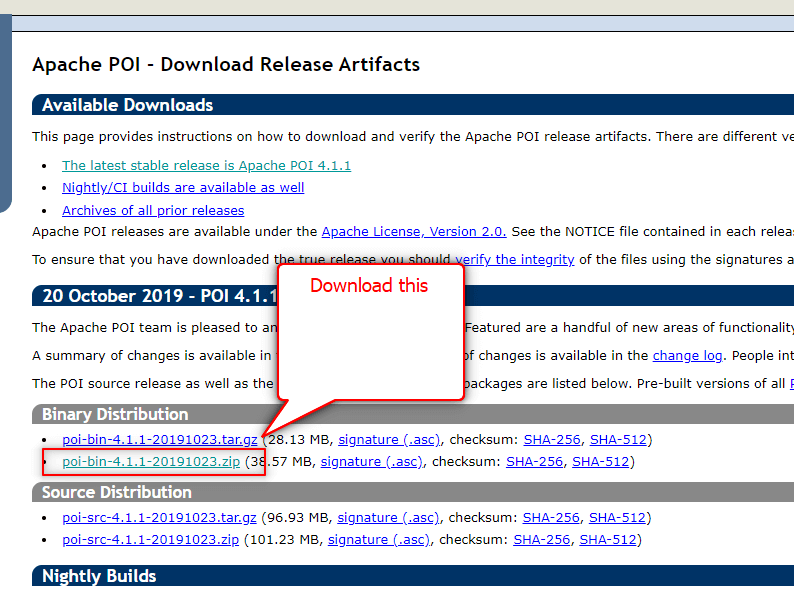 How to download Apache POI