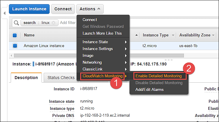Modifying the Amazon EC2 instance parameters