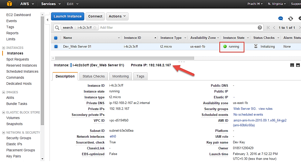 Creating an Amazon EC2 instance