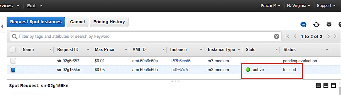 Creating a Spot Amazon EC2 instance