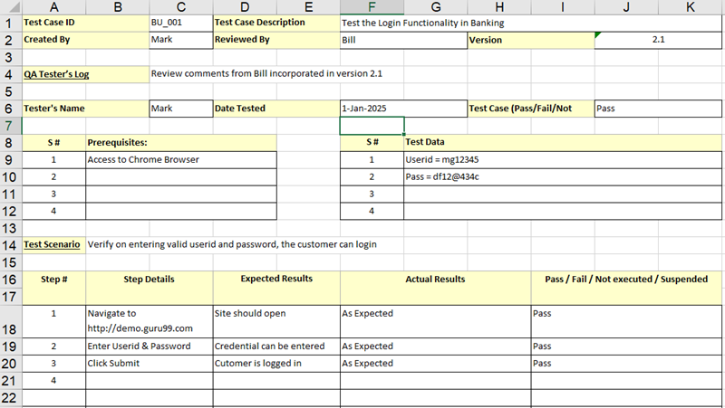 Test Case Template In Excel