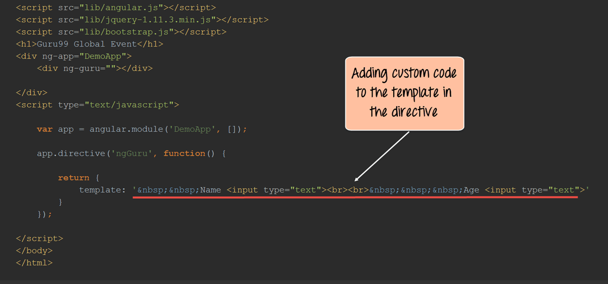 Angularjs CUSTOM Directive Example [ng-transclude]