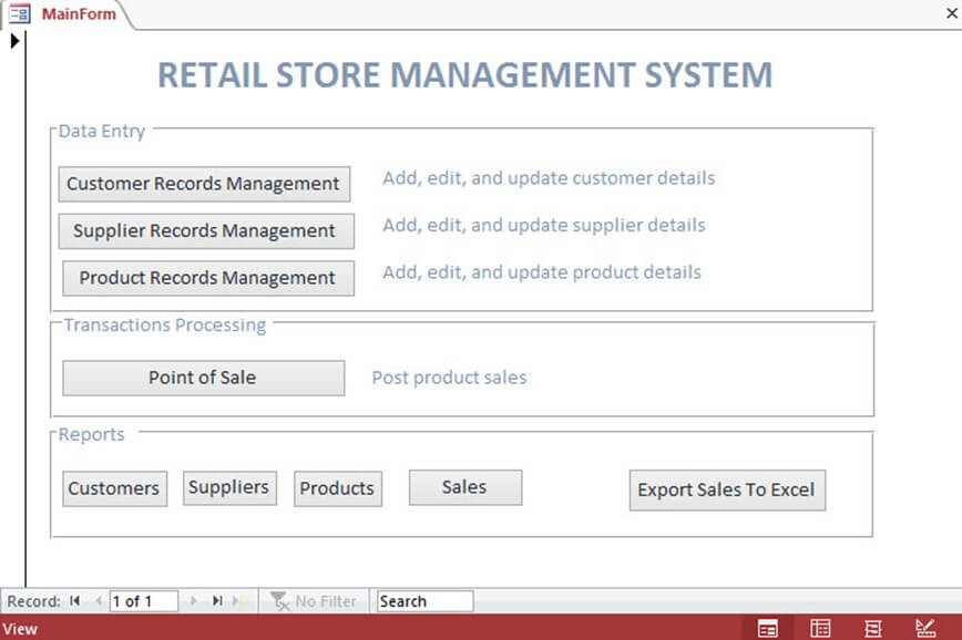 Decision Support System (DSS): Demo PoS for a Retail Store