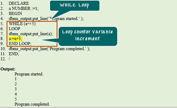 Oracle PL/SQL WHILE LOOP with Example