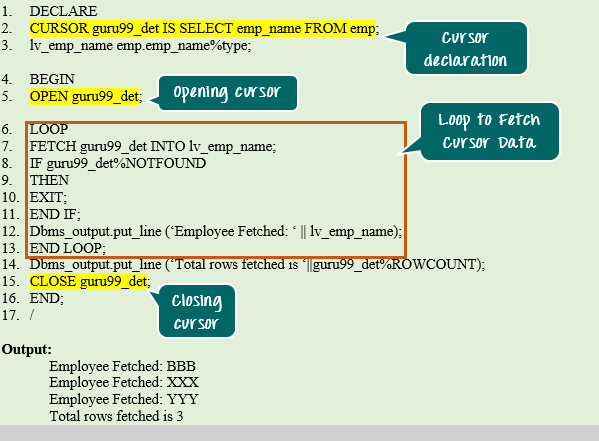Close cursor in oracle