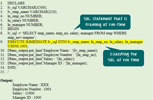 Dynamic SQL in PL/SQL