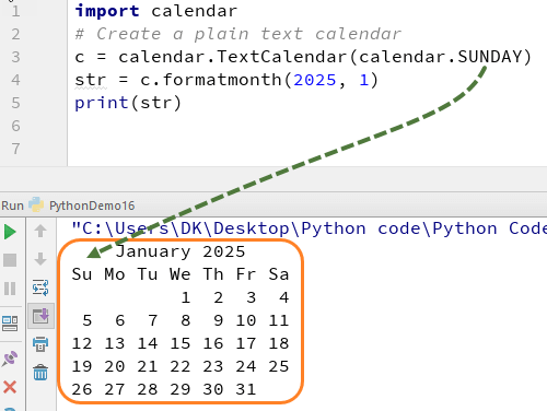 Python CALENDAR Tutorial with Example