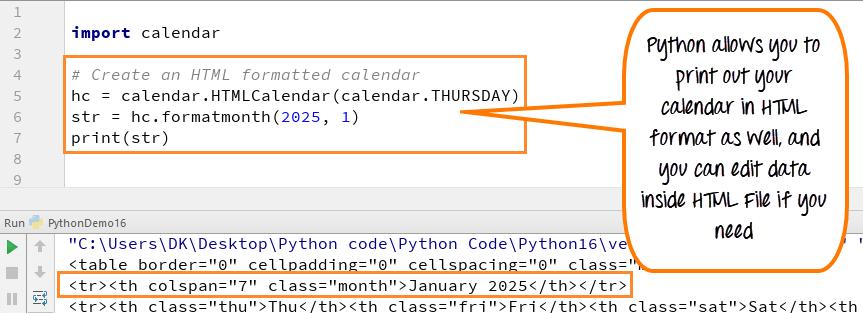 Python CALENDAR Tutorial with Example