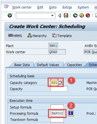 Work Center in SAP PP: Create, Change, Display