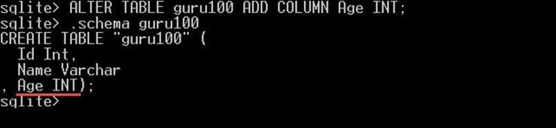 SQLite Create, Alter, Drop Table
