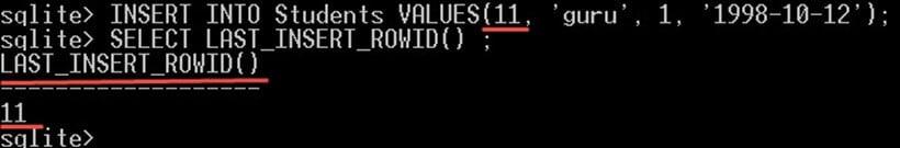 Example of LAST_INSERT_ROWID function in SQLite