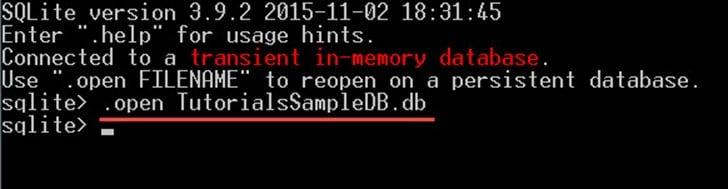 Creating a sample database in SQLite