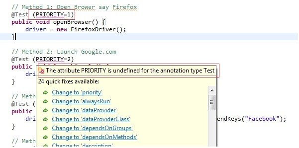 TestNG Priority in Test Cases