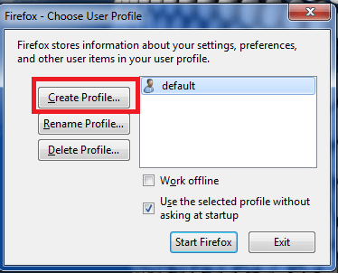 How to create a Firefox profile
