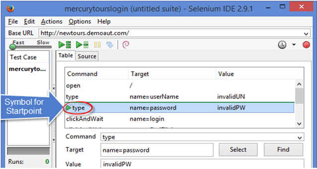 Breakpoint & Start Point in Selenium IDE
