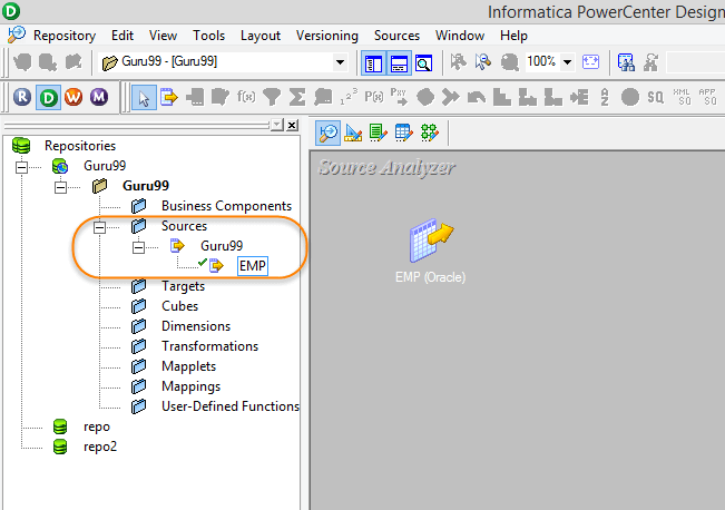 Importing Source Table in Source Analyzer