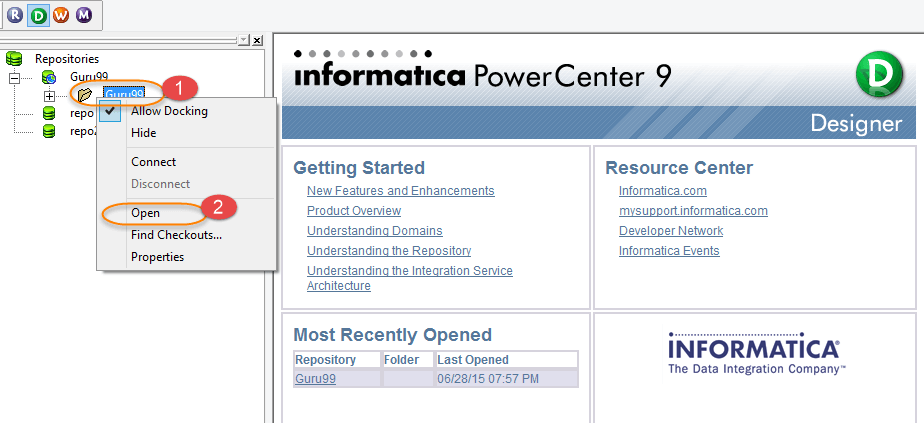 Process to Open Source Analyzer in Informatica