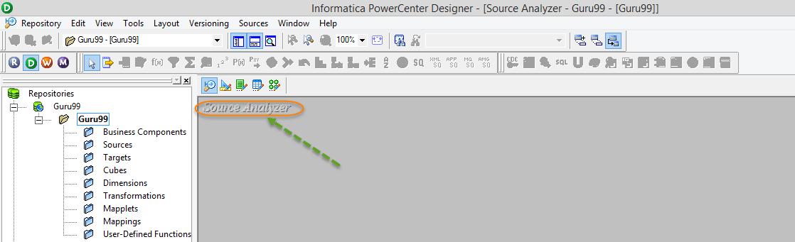 Opening Source Analyzer in Informatica