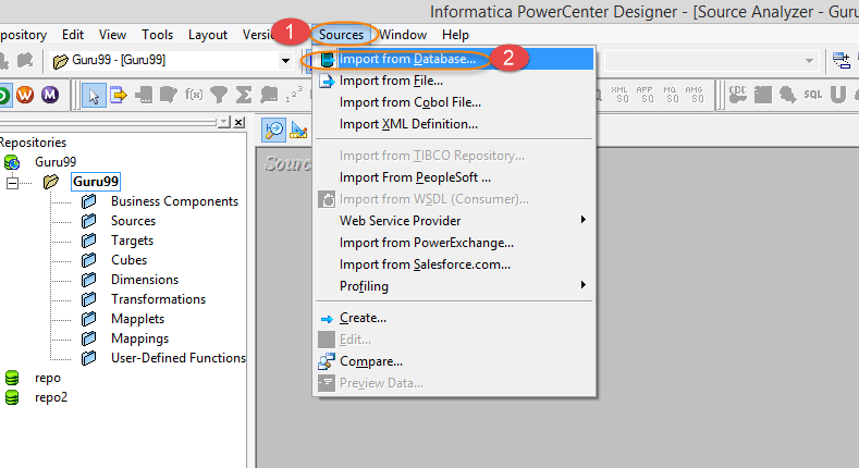 How to Import Source Table in Source Analyzer