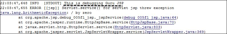JSP Debugging Using println Statements