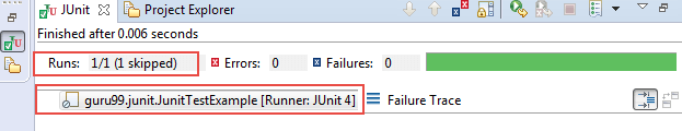 JUnit Ignore Test