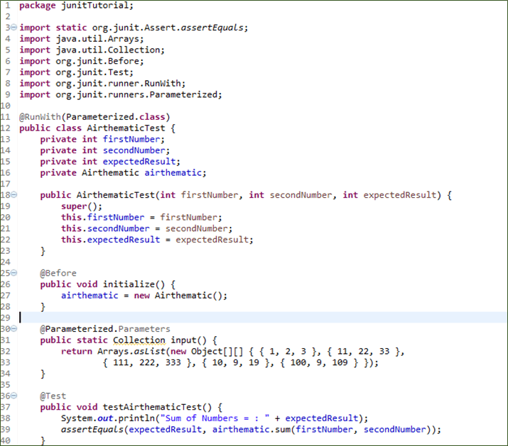JUnit Parameterized Test with Example using @Parameters