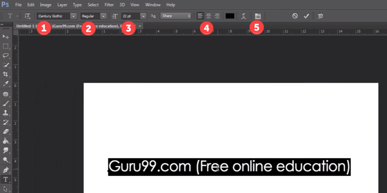Photoshop text tool