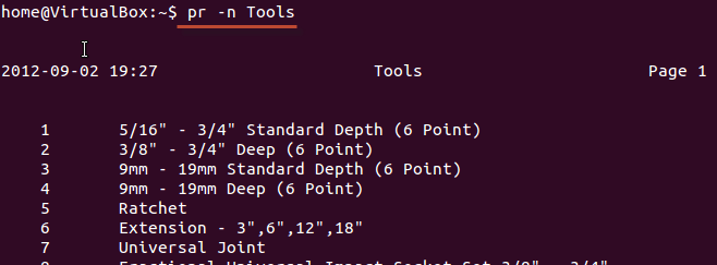 Denoting lines with numbers using Linux/Unix commands
