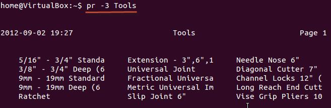 Dividing data into columns using Linux/Unix commands