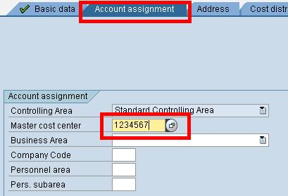 sap cost center account assignment