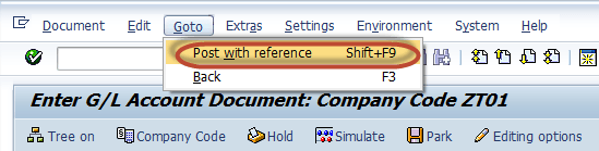 G/L Document Tutorial: Park, Hold,  Posting with Refrence in SAP