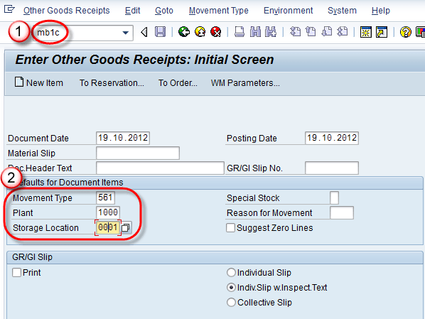 MB1C: How to Create Material Stock in SAP